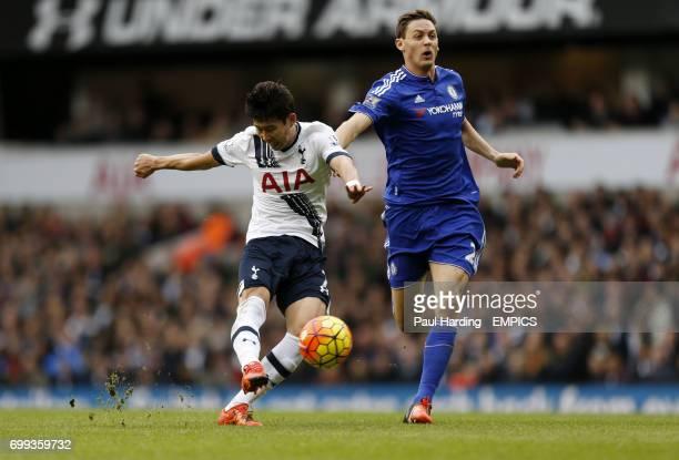 Tottenham Hotspur's HeungMin Son and Chelsea's Nemanja Matic battle for the ball