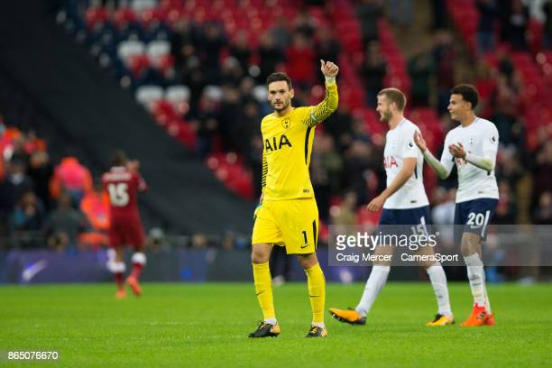 Tottenham Hotspur's Hugo Lloris applauds the fans at the final whistle during the Premier League match between Tottenham Hotspur and Liverpool at...