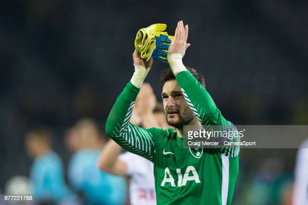 Tottenham Hotspur's Hugo Lloris applauds the fans at the final whistle during the UEFA Champions League group H match between Borussia Dortmund and...