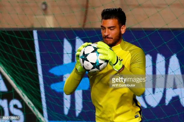Tottenham Hotspur's Italian goalkeeper Paulo Gazzaniga takes part in a training session at the GSP Stadium in Nicosia on the eve of the UEFA...