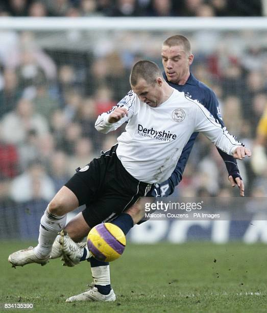 Tottenham Hotspur's Jamie O'Hara and Derby County's Kenny Miller battle for the ball