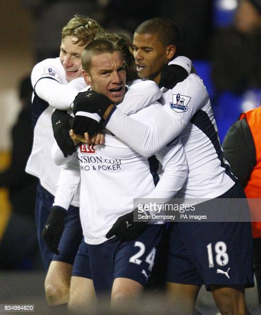 Tottenham Hotspur's Jamie O'Hara celebrates with his team mates after scoring the third goal of the game