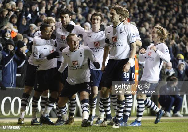 Tottenham Hotspur's Jamie O'Hara celebrates with his team mates after Burnley's Michael Duff conceeds and own goal