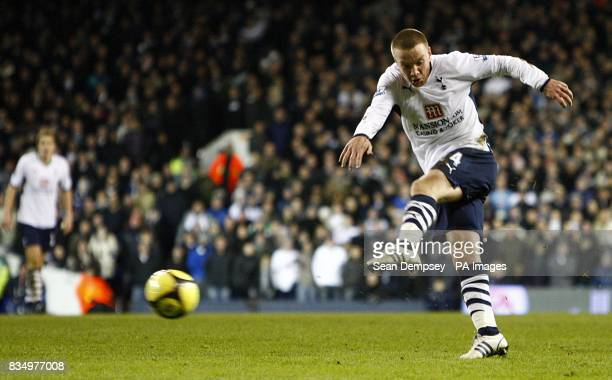 Tottenham Hotspur's Jamie O'Hara has a shot on goal which results in a goal for team mate Luka Modric