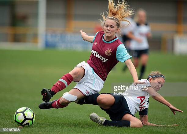 Tottenham Hotspur's Jenna Squillaci tackles West Ham United Ladies Molly Peters during FA Women's Premier League Cup Preliminary Round match between...