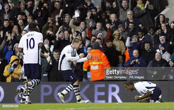 Tottenham Hotspur's Jermain Defoe celebrates in front of the fans after scoring the second goal of the game