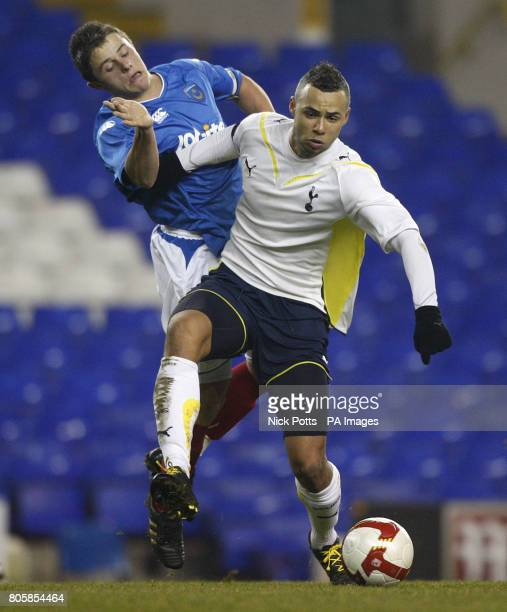 Tottenham Hotspur's John Bostock holds off the challenge from Portsmouth's Florent Cuvelier during the FA Youth Cup 4th Round game