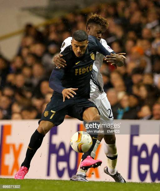 Tottenham Hotspur's Joshua Onomah and AS Monaco's Nabil Dirar battle for the ball