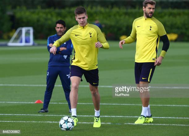 LR Tottenham Hotspur's Juan Foyth and Tottenham Hotspur's Fernando Llorente during a Tottenham Hotspur training session ahead of the UEFA Champions...