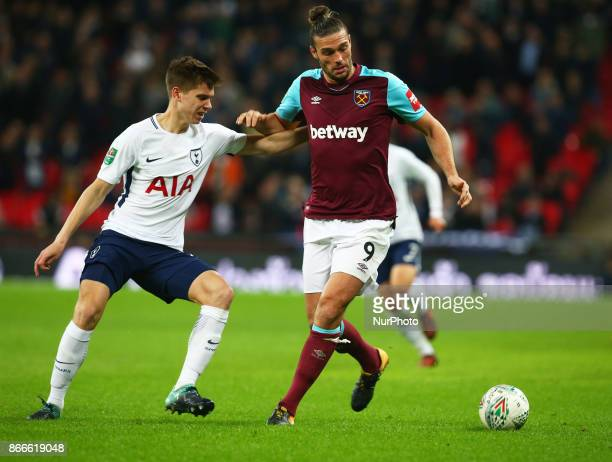 LR Tottenham Hotspur's Juan Foyth and West Ham United's Andy Carroll during Carabao Cup 4th Round match between Tottenham Hotspur and West Ham United...