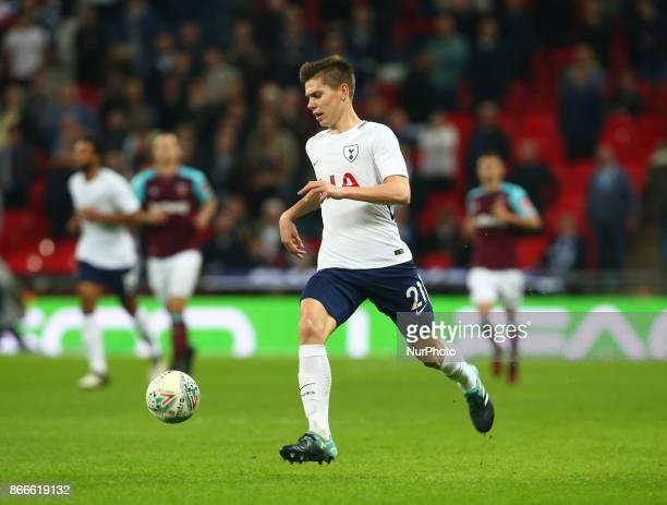 Tottenham Hotspur's Juan Foyth during Carabao Cup 4th Round match between Tottenham Hotspur and West Ham United at Wembley Stadium London England on...