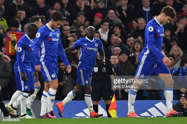 Tottenham Hotspur's Kenyan midfielder Victor Wanyama celebrates scoring their second goal during the English Premier League football match between...
