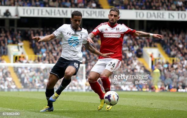 Tottenham Hotspur's Kyle Naughton and Fulham's Ashkan Dejagah battle for the ball