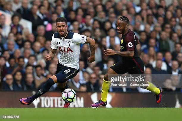 Tottenham Hotspur's Kyle Walker and Manchester City's Raheem Sterling during the Premier League match between Tottenham Hotspur and Manchester City...