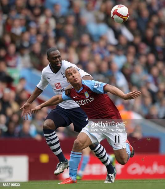 Tottenham Hotspur's Ledley King and Aston Villa's Gabriel Agbonlahor battle for the ball