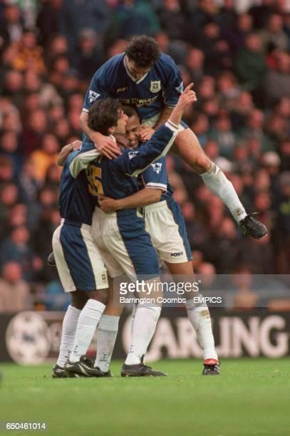 Tottenham Hotspur's Les Ferdinand Nicola Berti celebrate after Ruel Fox scored