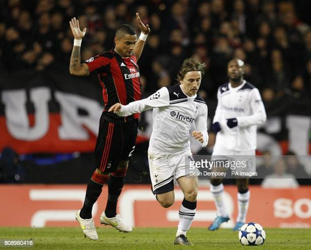 Tottenham Hotspur's Luka Modric and AC Milan's KevinPrince Boateng battle for the ball