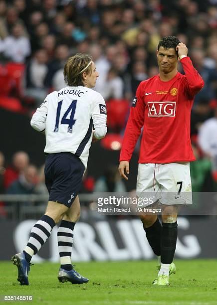 Tottenham Hotspur's Luka Modric and Manchester United's Cristiano Ronaldo