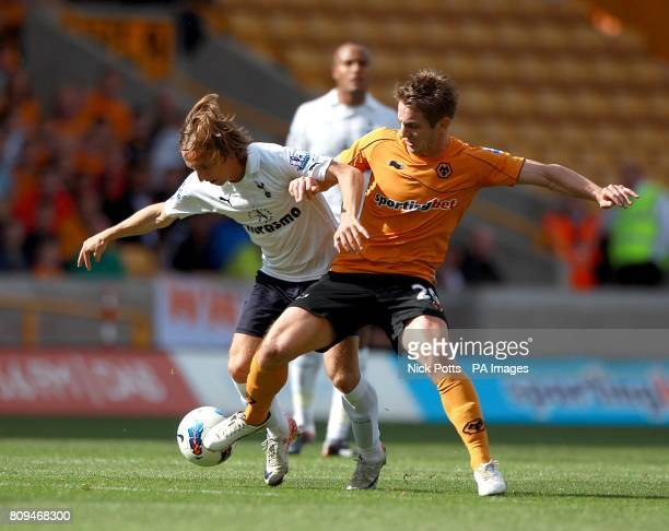 Tottenham Hotspur's Luka Modric and Wolverhampton Wanderers' Kevin Doyle in action