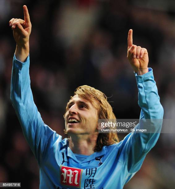 Tottenham Hotspur's Luka Modric celebrates his first goal of the game during the Barclays Premier League match at St James' Park Newcastle