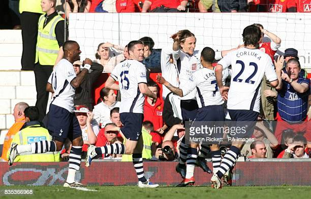 Tottenham Hotspur's Luka Modric celebrates with his team mates after scoring his sides second goal of the game