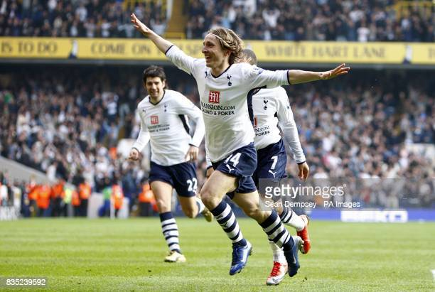 Tottenham Hotspur's Luka Modric celerbates after scoring the first goal