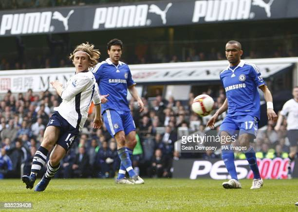 Tottenham Hotspur's Luka Modric has a shot on goal