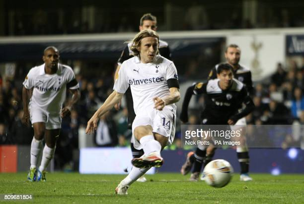 Tottenham Hotspur's Luka Modric scores his side's first goal of the game from the penalty spot