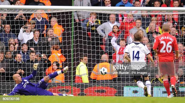 Tottenham Hotspur's Luka Modric scores his team's second goal from the penalty spot