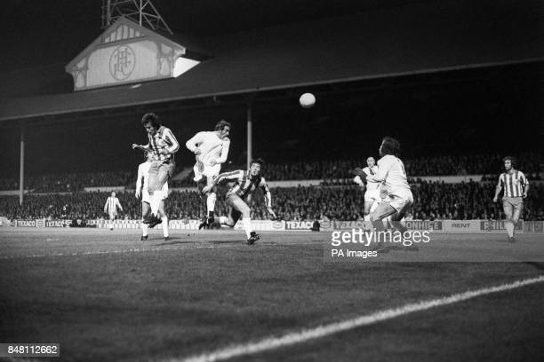 Tottenham Hotspur's Martin Chivers heads in his team's second goal of the night The game finished 40