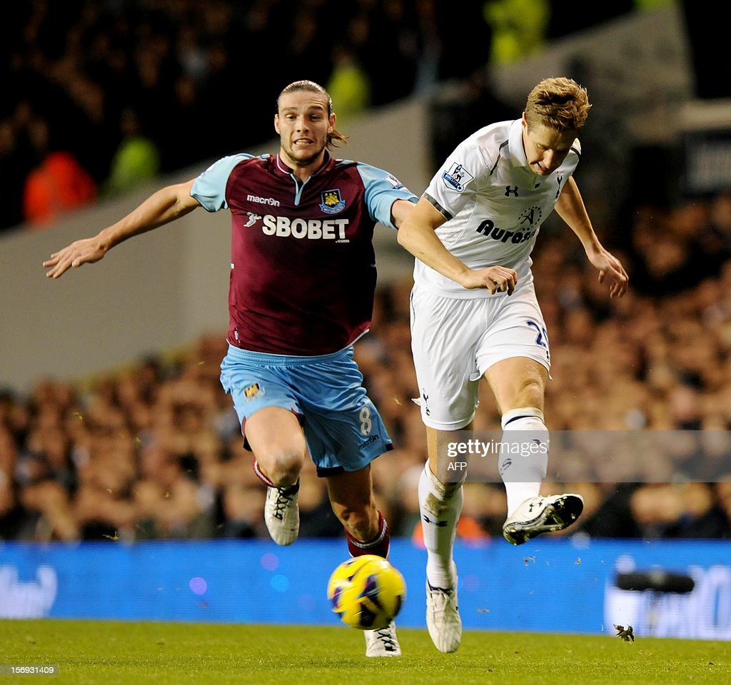 "Tottenham Hotspur's Michael Dawson (R) vies with West Ham's Andy Carroll during their Barclays Premier League football match White Hart Lane in North London, England on 25 November, 2012. AFP PHOTO/Olly Greenwood USE. No use with unauthorized audio, video, data, fixture lists, club/league logos or ""live"" services. Online in-match use limited to 45 images, no video emulation. No use in betting, games or single club/league/player publications."