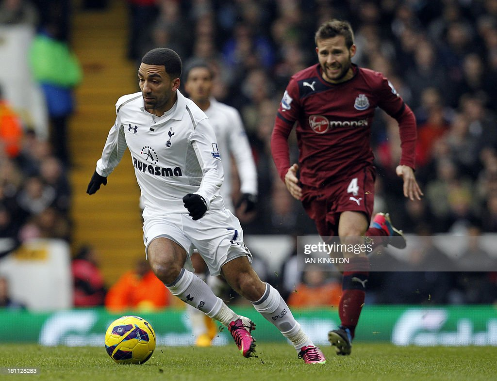 Tottenham Hotspur's midfielder Aaron Lennon (L) runs with the ball chased by Newcastle United's French midfielder Yohan Cabaye (R) during the English Premier League football match between Tottenham Hotspur and Newcastle United at White Hart Lane in London on February 9, 2013.Tottenham won 2-1. USE. No use with unauthorised audio, video, data, fixture lists, club/league logos or 'live' services. Online in-match use limited to 45 images, no video emulation. No use in betting, games or single club/league/player publications.