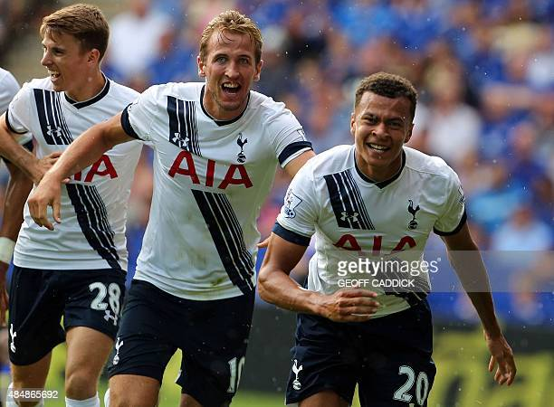 Tottenham Hotspur's midfielder Dele Alli celebrates scoring a goal with team mate Engish striker Harry Kane during the English Premier League...