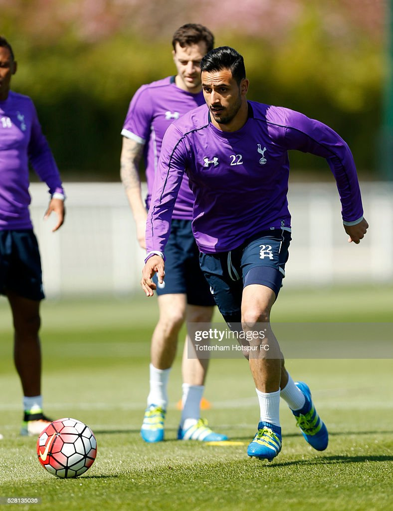 Tottenham Hotspur's Nacer Chadli during training on May 4, 2016 in Enfield, England.