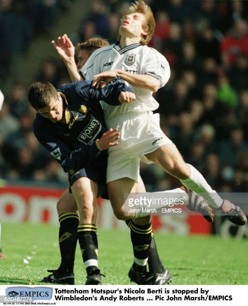 Tottenham Hotspur's Nicola Berti is stopped by Wimbledon's Andy Roberts