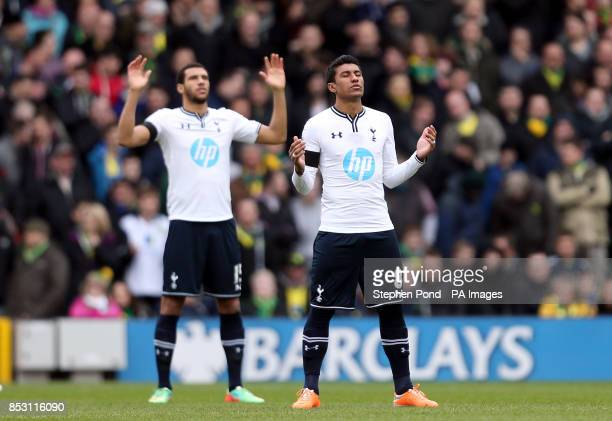 Tottenham Hotspur's Paulinho and Etienne Capoue before the game