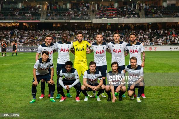 Tottenham Hotspur's players South Korean striker Son HeungMin French midfielder GeorgesKevin N'Koudou Welsh defender Ben Davies Slovakian midfielder...