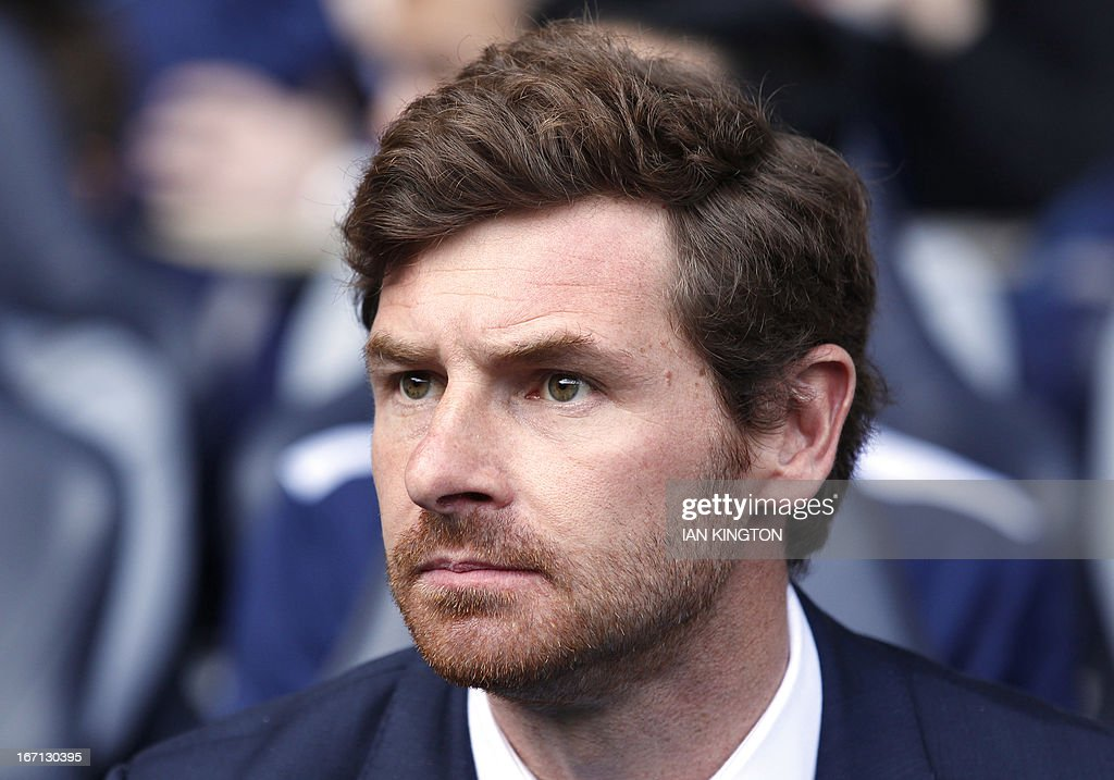Tottenham Hotspur's Portuguese manager Andre Villas-Boas awaits kick off during the English Premier League football match between Tottenham Hotspur and Manchester City at White Hart Lane in north London on April 21, 2013. USE. No use with unauthorized audio, video, data, fixture lists, club/league logos or live services. Online in-match use limited to 45 images, no video emulation. No use in betting, games or single club/league/player publications