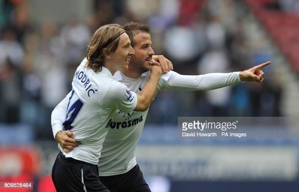 Tottenham Hotspur's Rafael van der Vaart is congratulated by Tottenham Hotspur's Luka Modric after scoring his side's first goal during the Barclays...