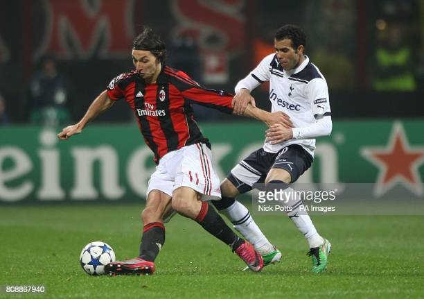Tottenham Hotspur's Raniere Sandro and AC Milan's Zlatan Ibrahimovic battle for the ball