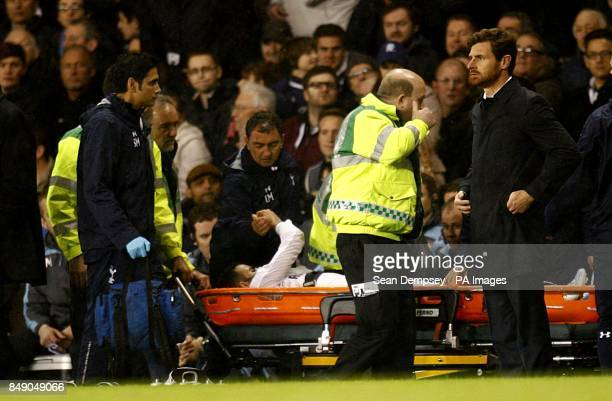 Tottenham Hotspur's Raniere Sandro leaves the field on a stretcher after picking up an injury