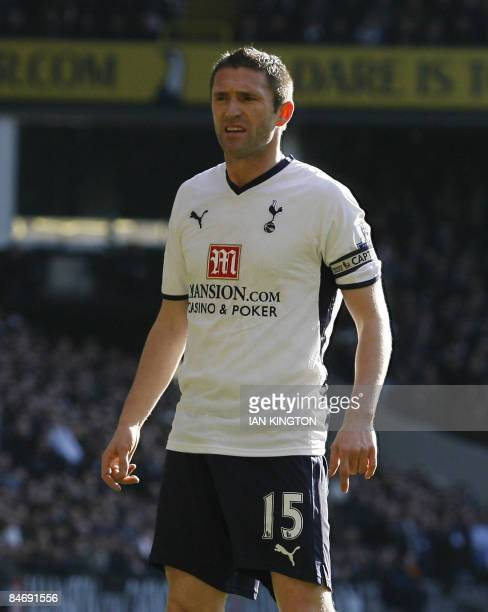 Tottenham Hotspurs Robbie Keane attends their Premier League football match against Arsenal at White Hart Lane in London on February 8 2009 AFP...