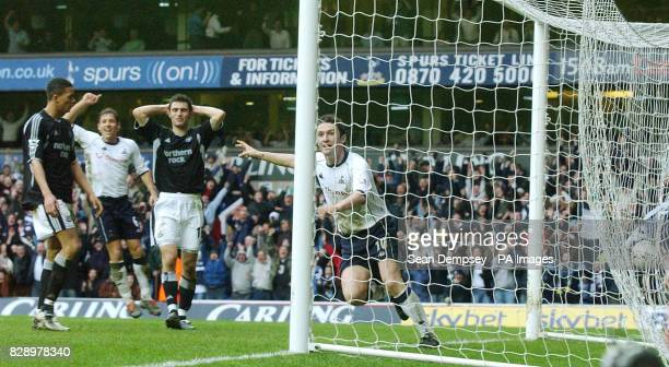 Tottenham Hotspur's Robbie Keane celebrates the own goal scored by Newcastle United's Andrew O'Brien during the Barclaycard Premiership match at...