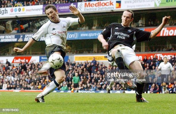 Tottenham Hotspur's Robbie Keane in action against Newcastle United's Andrew O'Brien during the Barclaycard Premiership match at White Hart Lane...