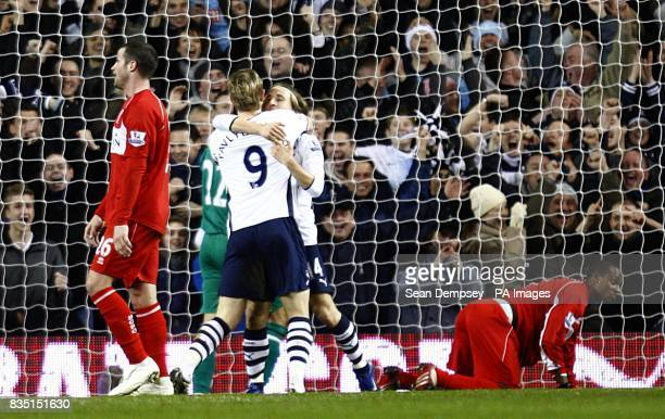 Tottenham Hotspur's Roman Pavlyuchenko celebrates with taem mate Luka Modric after scoring the second goal of the game as Middlesbrough's Justin...
