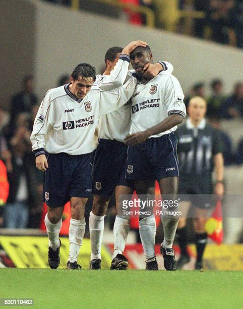 FEATURE Tottenham Hotspur's Sol Campbell is congratulated by his team mates after scoring the late equalizer during today's December 12 1998 FA...