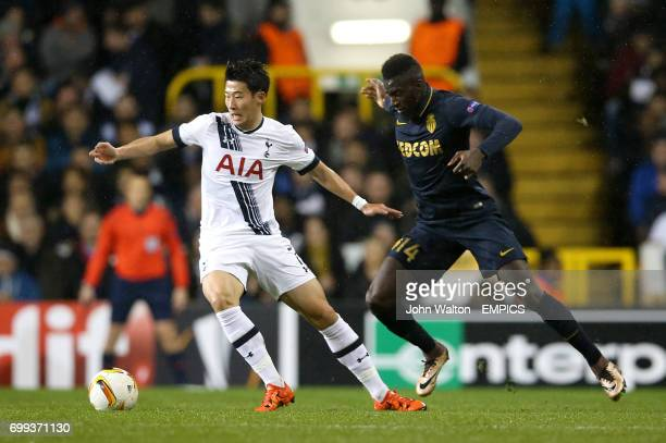 Tottenham Hotspur's Son HeungMin and AS Monaco's Tiemoue Bakayoko in action