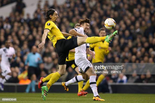 Tottenham Hotspur's Son HeungMin and Dortmund's Neven Subotic battle for the ball