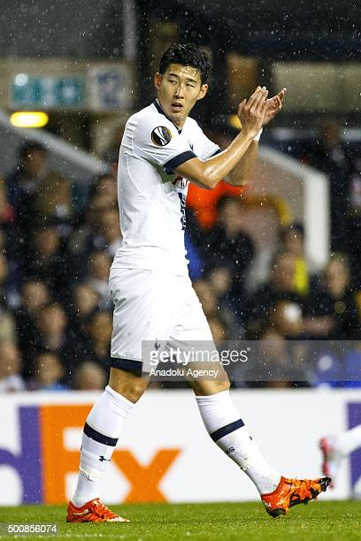 Tottenham Hotspurs Son Heungmin at the UEFA Europa League Group J match between Tottenham and Monaco at White Hart Lane on December 10 2015 in London...