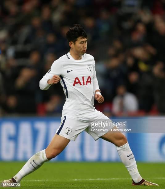 Tottenham Hotspur's Son HeungMin celebrates scoring his side's second goal during the UEFA Champions League group H match between Tottenham Hotspur...